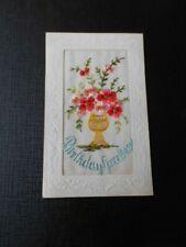 Embroidered Silk postcard, Birthday Greetings