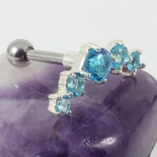 Helix Upper Ear Cartilage Bar Piercing Aquamarine Crystal Silver Motif 1.2 x 6mm