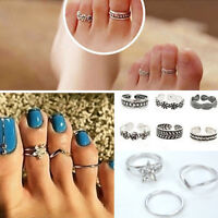 12PCs Celebrity Women Fashion Simple Toe Ring Adjust Silver Foot Beach Jewelry