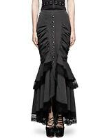 Punk Rave Fishtail Skirt Black Pinstripe Gothic Steampunk Victorian VTG Pencil