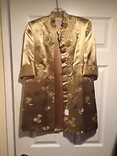 Chinese Golden Peony Hand Embroidered Lined Silk Robe - Silk Nightgown Size 8