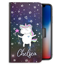 Unicorn Initial Phone Case, Personalised Horse Galaxy Star PU Leather Flip Cover