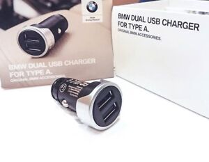 Genuine BMW In Car Universal 2 Port Twin Dual USB Aux Charger iPhone 3A