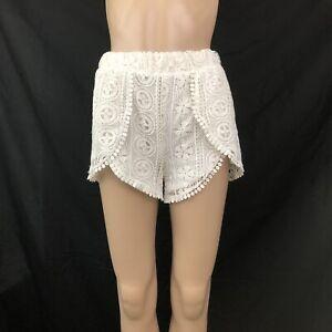 Charlotte Russe Womens Shorts Size Small Ivory White Crochet Lace Hot Pants
