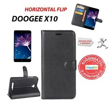 CUSTODIA FLIP ORIZZONTALE LEATHER CASE NERO + HOLDER PER DOOGEE X10