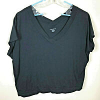 Lane Bryant 22/24 Tee Top Shirt Black V-Neck With Banded Bottom Suprimo Cotton