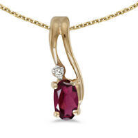 "14k Yellow Gold Oval Rhodolite Garnet And Diamond Wave Pendant with 18"" Chain"