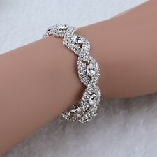 18K WHITE GOLD PLATED GENUINE CLEAR CUBIC ZIRCONIA ADJUSTABLE TENNIS BRACELET