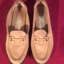 Women's Salvatore Ferragamo Light Brown Suede Bridle Bit 7.5 AA Shoes