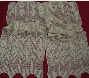 **Antique&Vintage Handmade Ecru Pair Cotton Crocht  Lace Curtain*Code:s140**