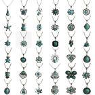 Women's Tibetan Retro Silver Turquoise Bib Crystal Pendant Long Necklace Jewelry