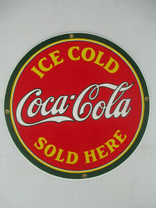 Coca-Cola Red and Green Porcelain Disc Sign Ice Cold Sold Here Retro