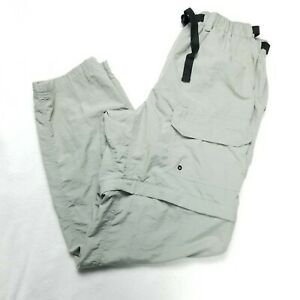 REI Men's Size Large Hiking Convertible Pants Quick Dry Nylon Gray Belted