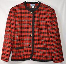 PENDLETON 100% Wool Red Plaid Collarless Blazer Jacket Sz 14 EUC USA