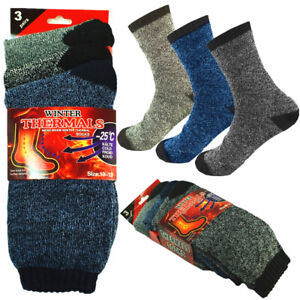 3 Pairs Winter Mens Thermal Heavy Duty Heated Super Warm Socks Boots Size 10-13