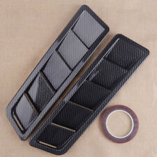 2x Universal Car Carbon Fiber Hood Vent Louver Cooling Panel Trim Top w/ Tape
