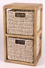 Holzregal mit 2 Körben aus Maisgeflecht - Standregal Kinderregal Korbregal Regal