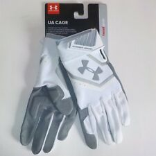 Under Armour CAGE Batting Gloves GREY WHITE 1278211 100 Adult SMALL Fast Ship