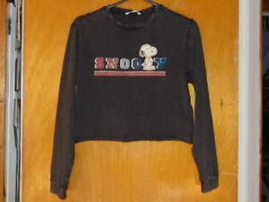 M&S Peanuts Snoopy Top 100%Cotton L/Sleeved 11-12y 152cm Dark Grey Marl BNWT