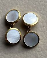 Vintage Gold Cufflinks 9ct 1930s 9 Carat Art Deco Mens Mother Of Pearl 1920s Old