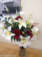LARGE IVORY LILY, LISIANTHUS & ROSES ARTIFICIAL FLOWER VASE ARRANGEMENT IN WATER