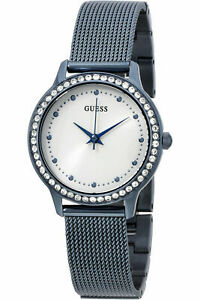 New GUESS W0647L4 Stainless Steel Blue-Tone Mesh Band Crystal Women's Watch