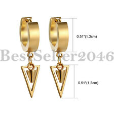 2pcs Men Women Triangle Dangle Stainless Steel Huggie Hinged Small Hoop Earrings