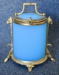 LOVELY RARE ANTIQUE ITALIAN OPALINE GLASS VANITY JAR W GILT BRONZE ORMOLU TRIM