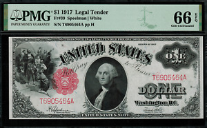 "1917 $1 Legal Tender FR-39 - ""Sawhorse"" - PMG 66 EPQ - Gem Uncirculated"