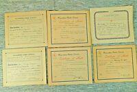 Waynesboro Virginia School Certificates from 1904 to 1909 Lot of 6 In Good Cond
