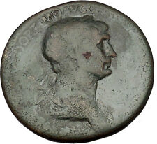 TRAJAN 115AD Ancient Rare Sestertius Large Roman Coin Good fortune Cult  i53302