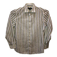 Banana Republic Mens Medium Striped Fitted Long Sleeve Button Front Shirt Top M