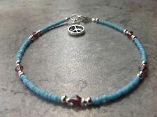 "Purple Swarovski Elements Crystal & Turquoise Seed Bead Peace Charm Anklet 11.5"""