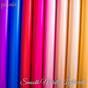 Smooth Metallic Leatherette Fabric - Shiny Faux Leather for Crafts & Bows A4