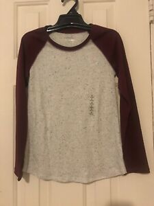 Justice Girls Maroon/Gray/Black Long Sleeved T-shirt Size 8 NWT