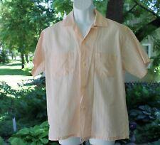 VTG 1950s Mens Summer Loop Collar Pink Shirt RockABilly VLV Large Sanforized