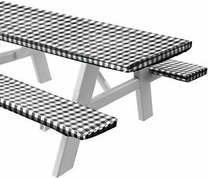 Sorfey Vinyl Picnic Table and Bench Fitted Tablecloth Cover, Checkered Design, F
