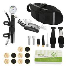 Bicycle Bike MTB Puncture Tyre Repair Multi Tools Kit Set Pump Glued Patches Bag