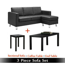 Sofa Sets For Living Room Set Bundle Black Leather Couch Office 3 Piece Modern