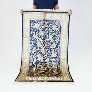 3x5ft Leaf Design Handmade Silk Carpets Floral Tapestry Hand Knotted Rugs 458A