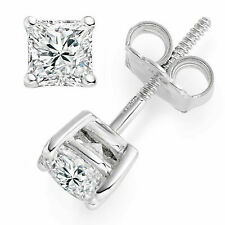 Princess Cut Solitaire Stud Earrings Solid 14k White Gold Screw Back 1 Carat