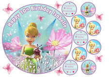 """EDIBLE TINKERBELL 7.5"""" ICING GIRLS PERSONALISED CAKE CUPCAKE TOPPERS BUTTERFLYS"""