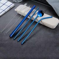 Stainless Steel Metal Drinking Straw Reusable Straws + 2 Cleaner Brush Kit Top