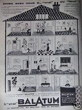 PUBLICITÉ 1958 LE VRAI BALATUM LE COUVRE-SOL - BANDE DESSINÉE - ADVERTISING