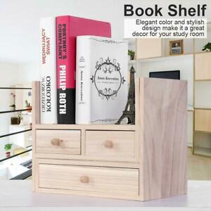 ZSLLO White PVC Openwork Freestanding Book Shelf with Drawer Desk Top Organization Caddy Desktop Bookshelves Make Up Organizer Cookie Rack