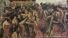 VINTAGE CONTEMPORARY AFRICAN FIGURES WATERCOLOR PAINTING, FUNERAL OF THE CHIEF