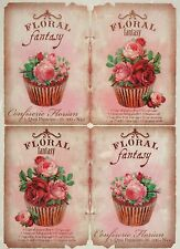 Rice Paper Floral Fantasy Cupcake for Decoupage Decopatch Scrapbook Craft Sheet