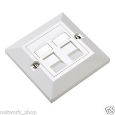 Excel Cat5e Dual Rj45 Bevelled Wall Plate With 2 X UTP Modules