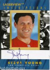 STEVE YOUNG SIGNED 1996 PINNACLE LASERVIEW INSCRIPTIONS #1856~FOOTBALL HOF AUTO