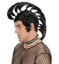 Mens Tall Black Gothic Mohawk Wig Rocker Emo Punk Rebel Fancy Dress